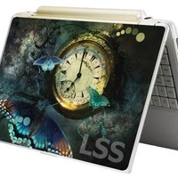 """Laptop Skin Shop 15 15.6 inch Laptop Notebook Skin Sticker Cover Art Decal Fits 13.3"""" 14"""" 15.6"""" 16"""" HP Dell Lenovo Apple Asus Acer Compaq (Free 2 Wrist Pad Included) Clock Butterfly"""