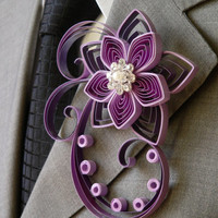 Purple Groom Boutonniere, Purple Best Man, Groomsmen, Brooch Boutonniere, Whimsical Buttonhole, Prom Boutonniere
