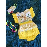 Summer Baby Girls Infant Kids Yellow Lace Bambi Princess Romper