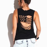 Black Cut Out Flag Back Muscle Tank Top