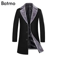 Batmo 2017 new arrival winter high quality thick warm wool casual skinny jacket men,wool trench coat men 8901