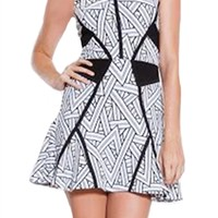 Parker Neve Fit & Flare Dress in Black & White | ShopAmbience