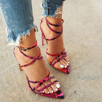 Sandals with pointed toe cross straps and snake heel lace high heel women's shoes rose red