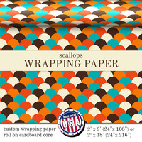 Gift Wrapping Paper Scallops Pattern | Orange Brown Blue Ivory Custom Wrapping Paper In Two Sizes Great For Any Occasion. Made In The USA