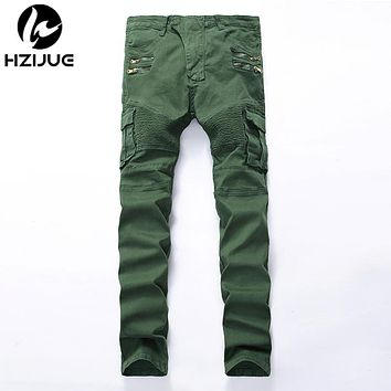 Men pocket hole ripped jeans Casual Zipper patchwork slim straight dark green hip hop denim pants Long trousers