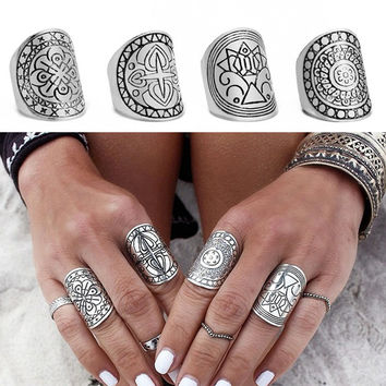 Set of 4 Bohemia Midi Rings for Women Fashion Antique Tibetan Silver Plated Carved Knuckle Finger