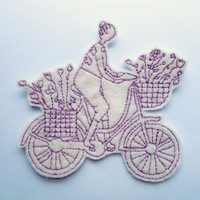 The Biker Applique Iron on Version in Cream and Lilac