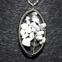 Silver White Howlite Oval Shaped Tree of Life Pendant Necklace
