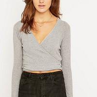 Sparkle & Fade Ribbed Wrap Top - Urban Outfitters