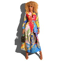 Versace Women Long Sleeved Lapel Shirt Dress