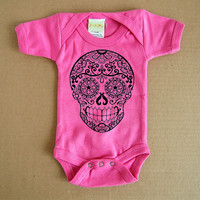 Hot Pink Sugar Skull Baby 9, 12, 18 months. Day of the Dead Bodysuit Creeper. BonesNelson on Etsy