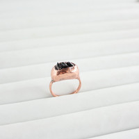 Rocky Mountains - Rock Candy Ring - Natural Crystal Druzy Rings - Copper ring - Black ring