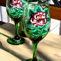 Hand Painted Red Rose Wine Glasses