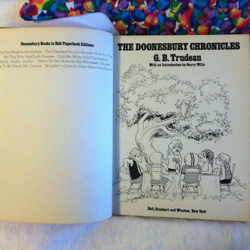 The Doonesbury Chronicles 1975 Book by G. B. Trudeau Vintage Comic Book Collectible Historical Political American Culture Satire Comic Book