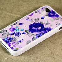 Vintage Floral Print iPhone 4 iPhone 4S Case, Rubber Material Full Protection