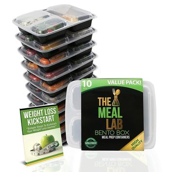 3 Compartment Microwavable Reusable Freezer Safe Meal Prep Food Storage Containers - 10 Pk