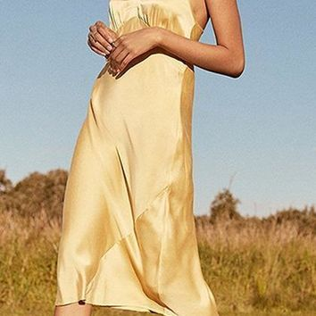 Yellow Satin Look V-neck Open Back Chic Women Cami Midi Dress