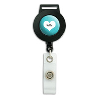 Hello Heart Wedding Bridal Valentines Retractable Badge Card ID Holder