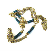 Long Brass Ball Bead & Blue Green Lucite Tube Beads Necklace Vintage Chain