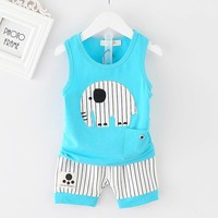 Baby Boy Elephant Striped Shorts Infant Clothing Set