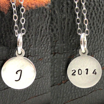 Graduation Gift, Bridal Party Necklace, Sterling Silver Initial Stamped on Front, Year Stamped on Back, Double Sided Hand Stamped Necklace