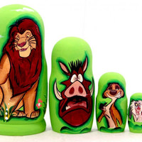 Simba matreshka traditional Russian toy nesting doll hand painted curved decorative collectible holiday birthday gift linden wood