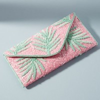 Beaded Palm Envelope Clutch