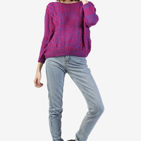 Marcia Marbled Knit Sweater - Red/Purple