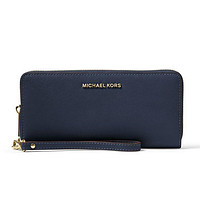 Michael Kors Jet Set Travel Leather Continental Wallet Navy