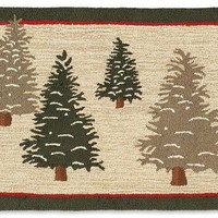 """Frosted Trees 30"""" X 8' Hooked Wool Runner"""