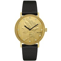 Bulova 140th Diamond Anniversary Watch - Coin Dial - Black Leather - Gold-Tone