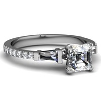 1.13 Ct Asscher Cut Diamond Mesmeric Three Stone Engagement Ring Pave Set FLAWLESS 14K