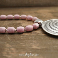 Mothers Day Necklace - PINK GEMSTONE NECKLACE, Silver Statement Pendant by Cheydrea