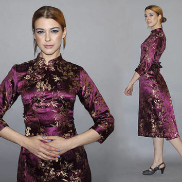 Vintage 60s 70s Cheongsam Dress / Plum Purple, Gold Brocade Midi Chinese Dress / Long Sleeve, Mandarin Collar / Oriental, Asian / Xxs, Xs