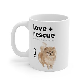 love + rescue Mug — Pomeranian