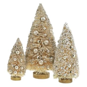 Glitter Bottle Brush Tree Decorations (Set of 3)