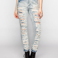 ALMOST FAMOUS Destructed Womens Suspendered Skinny Jeans | Skinny