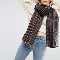 ASOS Tweed Check Long Scarf at asos.com