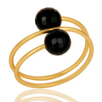 14K Yellow Gold Plated Sterling Silver Natural Black Onyx Wire Adjustable Ring