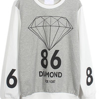 Gray and White Color Block Diamond and Number Print Sweatshirt