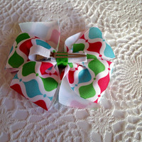 Chritsmas Bow Winter wonderland bow, winter colors, red green and aqua hair bow, stocking stuffer hair clips