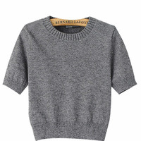 Short Sleeves Knitted Cropped Top