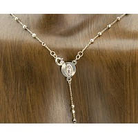 14k Solid Tri Color Yellow Gold Rosary Beads Virgin Mary Cross Necklace 18 inch