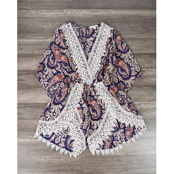 Dream Catcher Paisley Romper in Purple/Pink