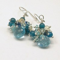 Petite Blue Topaz, Apatite, Iolite Gemstone Cluster Sterling Earrings