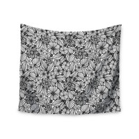 "Julia Grifol ""Candy Flowers In Black"" Gray White Wall Tapestry"