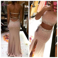Hater Two Pieces Mermaid Prom Dresses 2017 Long Champagne vestido de festa Crystal Hollow Back Graduation Dress Sweep Train M654