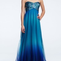 Strapless Ombre Sequin Dress with Side Cut Outs - David's Bridal