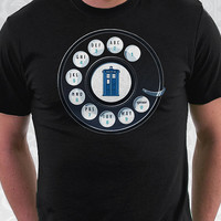 Call the Doctor - Doctor Who Shirt - 100% Cotton. Mens, womens and kids sizes. This Doctor Who shirt comes in back and navy.