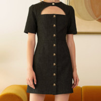 Fashion retro military style button closure short-sleeved hollow halter dress